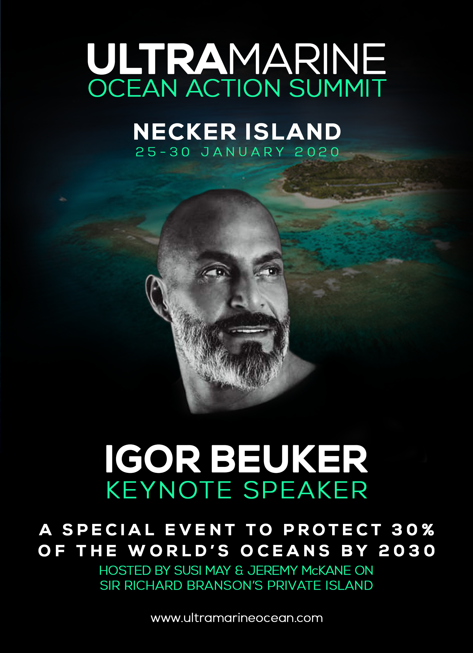 IGOR BEUKER & RICHARD BRANSON- KEYNOTE SPEAKERS FOR HUMANITY- NECKER ISLAND ULTRAMARINE 2.2